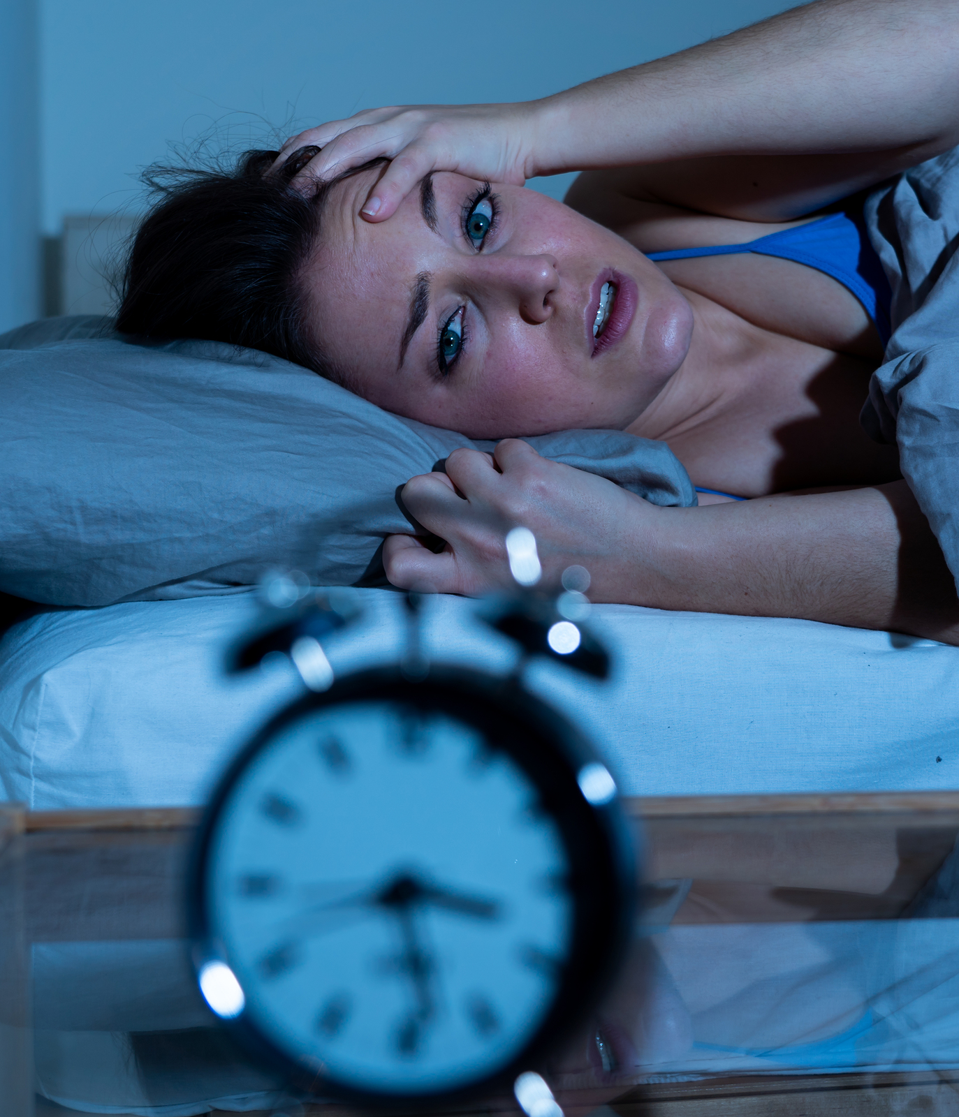 Attractive Woman In Bed Staring At Alarm Clock Trying To Sleep F